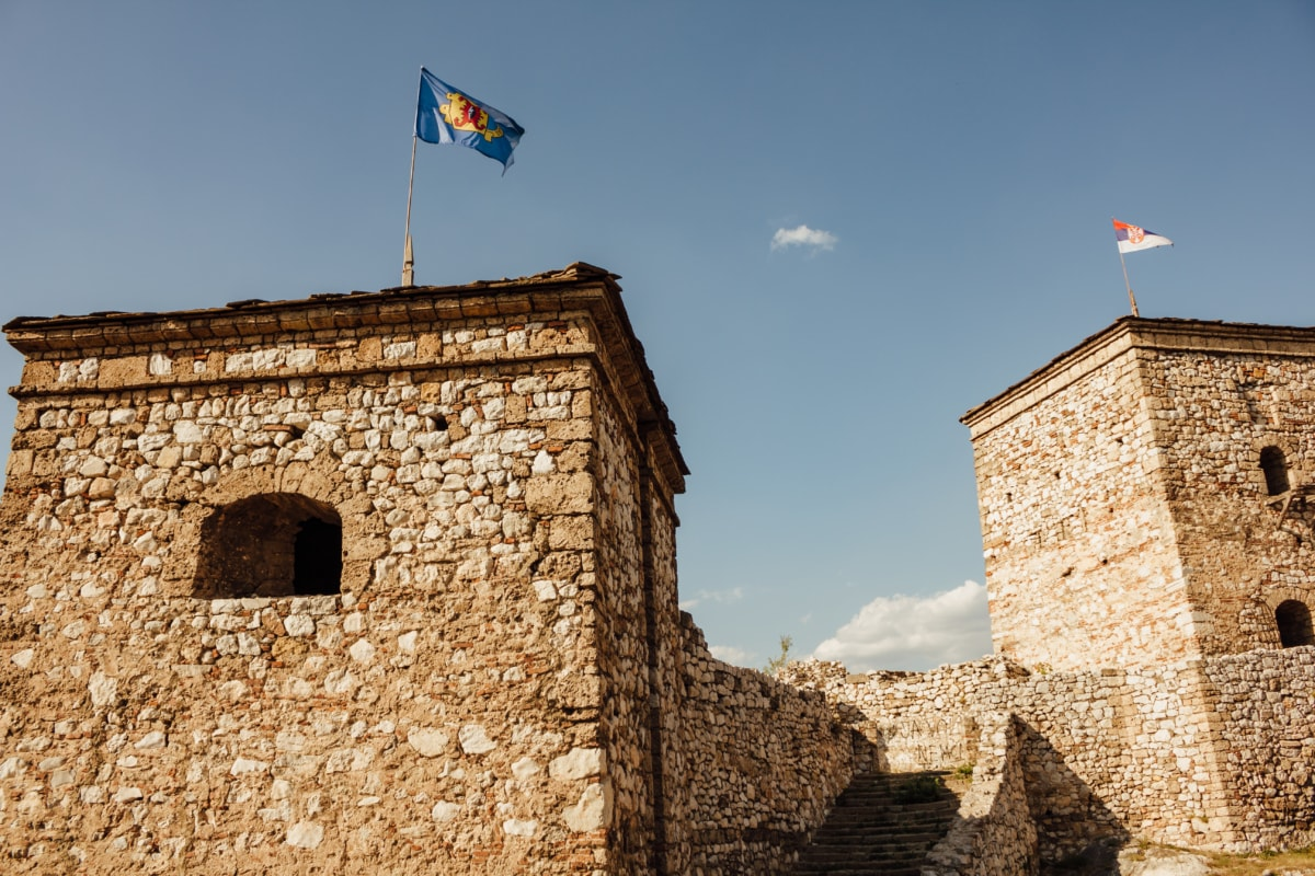 medieval, fortification, flag, tower, rampart, fortress, wall, stone, old, architecture
