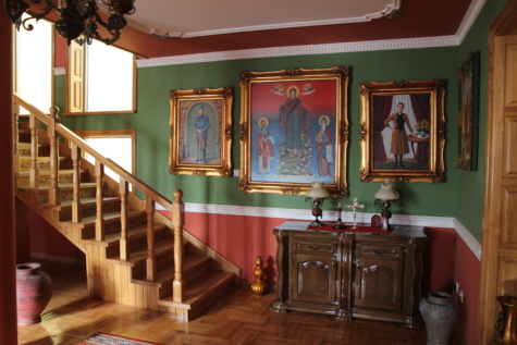 orthodox, staircase, icon, fine arts, living room, anteroom, interior design, indoors, room, altar