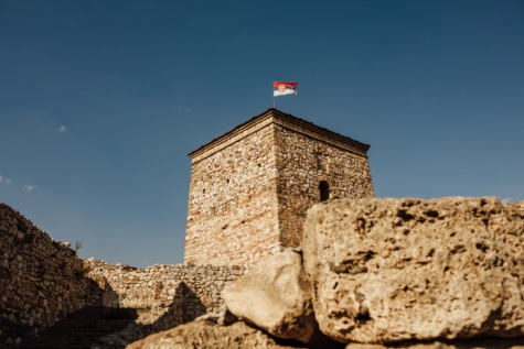 Serbia, flag, castle, medieval, fortification, tower, architecture, stone, fortress, outdoors