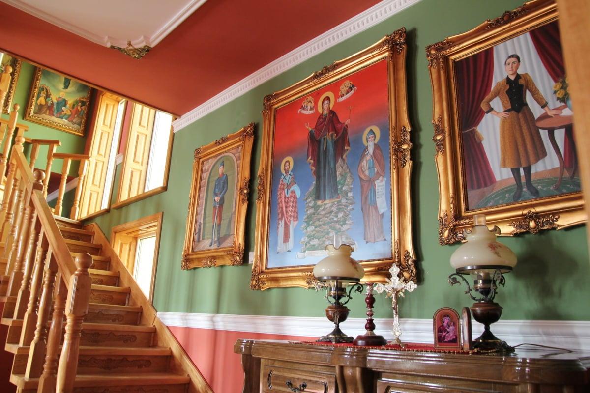 fine arts, staircase, icon, decor, carpentry, structure, furniture, altar, interior design, indoors
