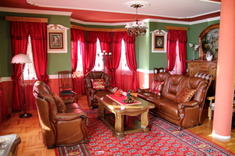 leather, living room, sofa, chandelier, curtain, couch, interior, floor, room, home
