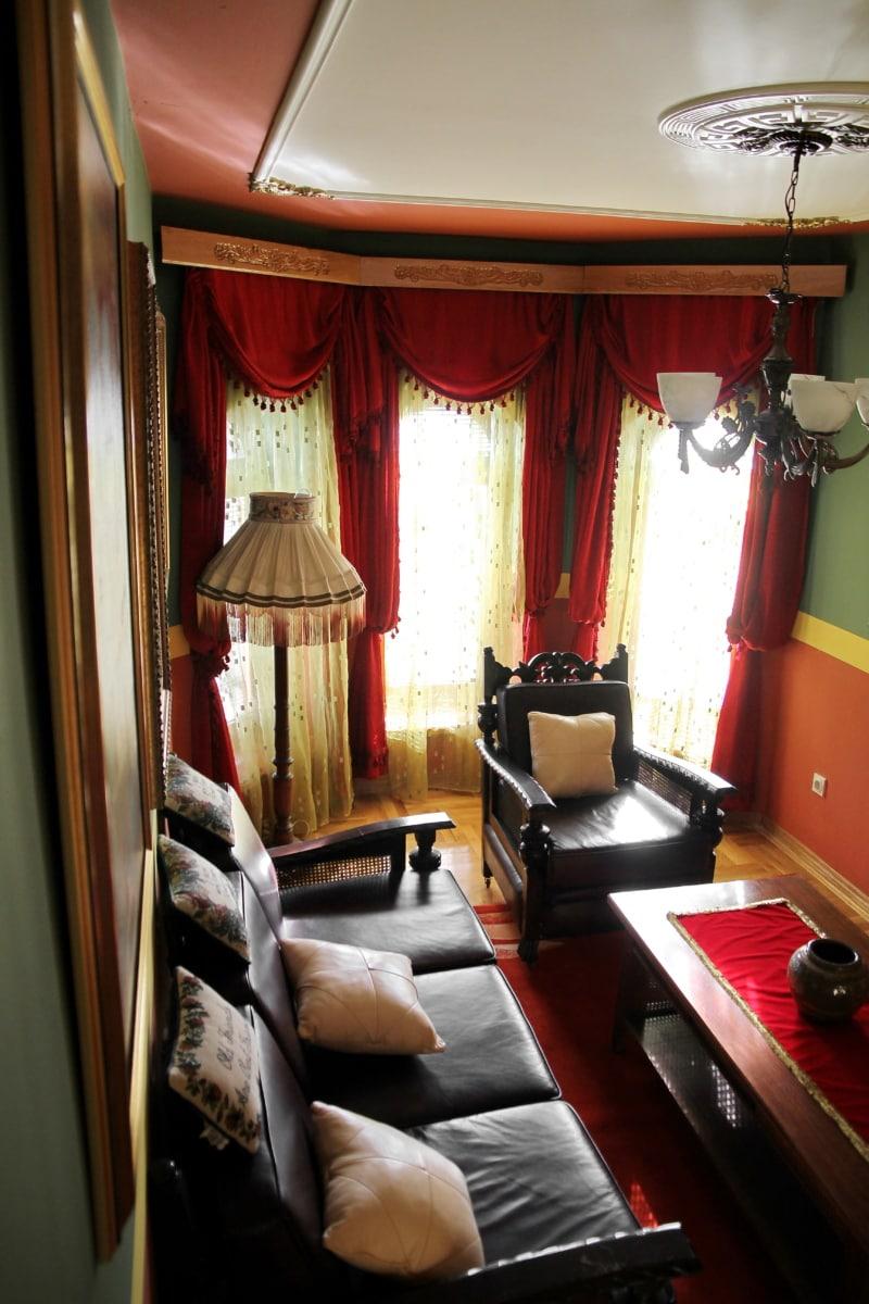 living room, salon, lamp, armchair, curtain, decor, room, indoors, interior design, furniture