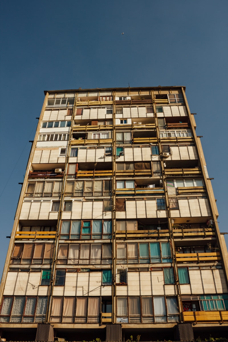architecture, building, socialism, architectural style, balcony, Balcan, office, city, urban, modern