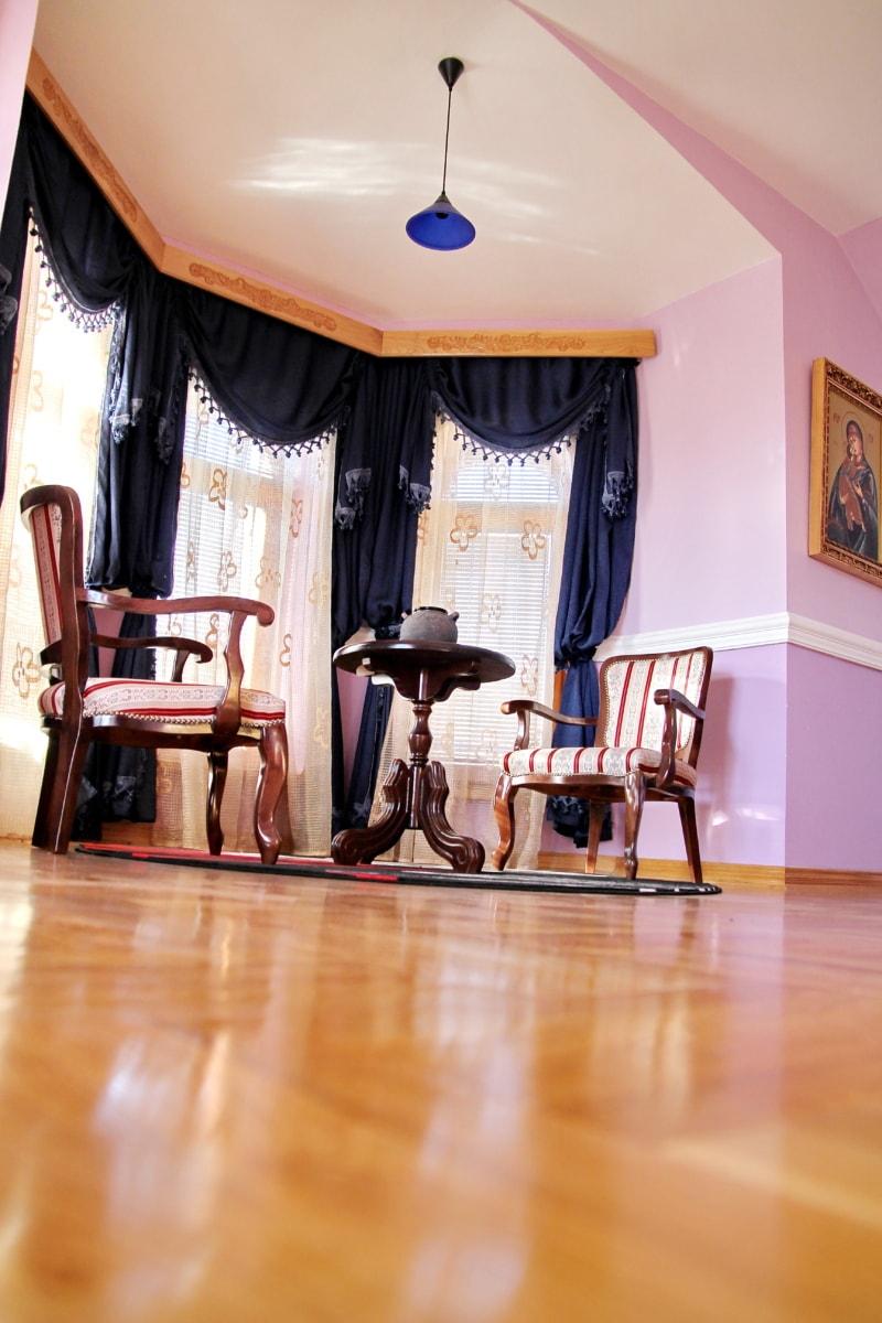 stoelen, Woonkamer, Gordijn, barok, vloer, parket, comfortabele, meubilair, stoel, kamer
