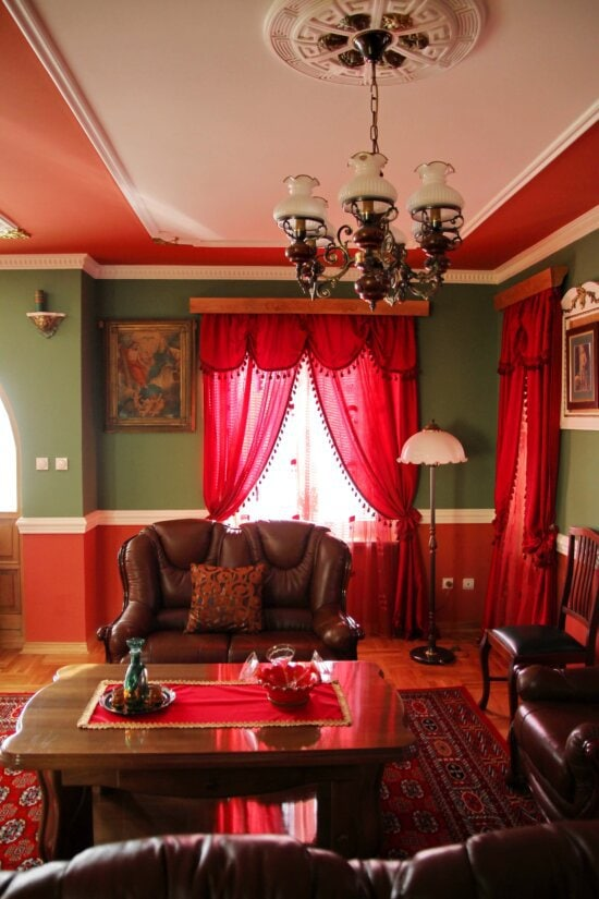 sofa, couch, chandelier, decor, lamprey, curtain, living room, room, home, indoors
