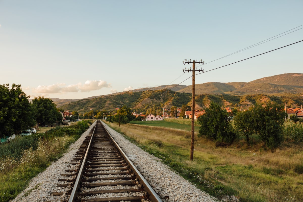 railway, countryside, village, rural, railroad, landscape, road, nature, wire, infrastructure