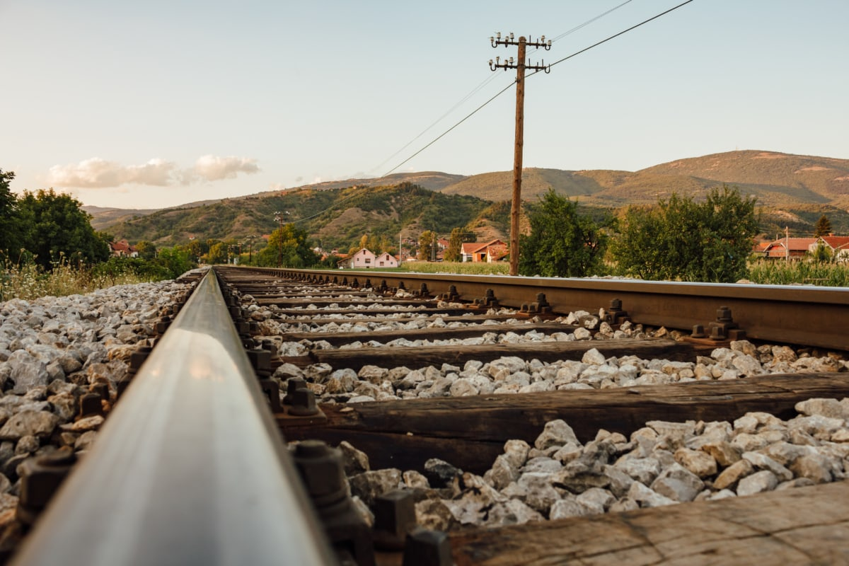 steel, railway, cast iron, close-up, gravel, nature, industry, road, outdoors, summer