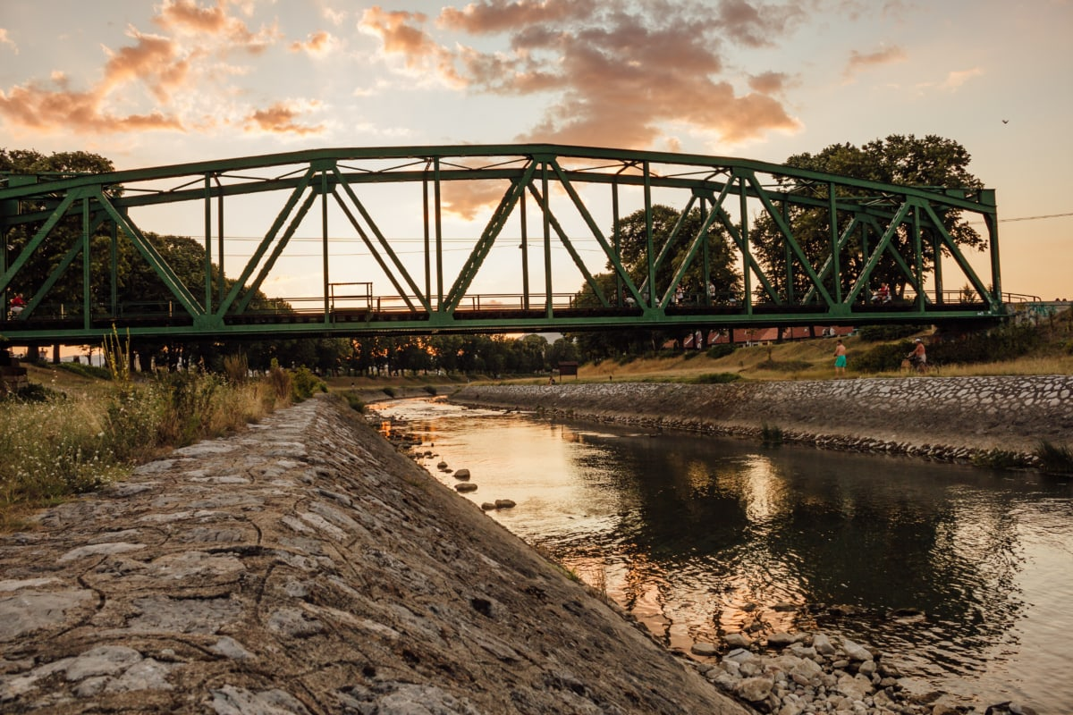 İnşaat, Köprü, dökme demir, Kanal, Demiryolu, nehir, su, yapısı, demir, günbatımı