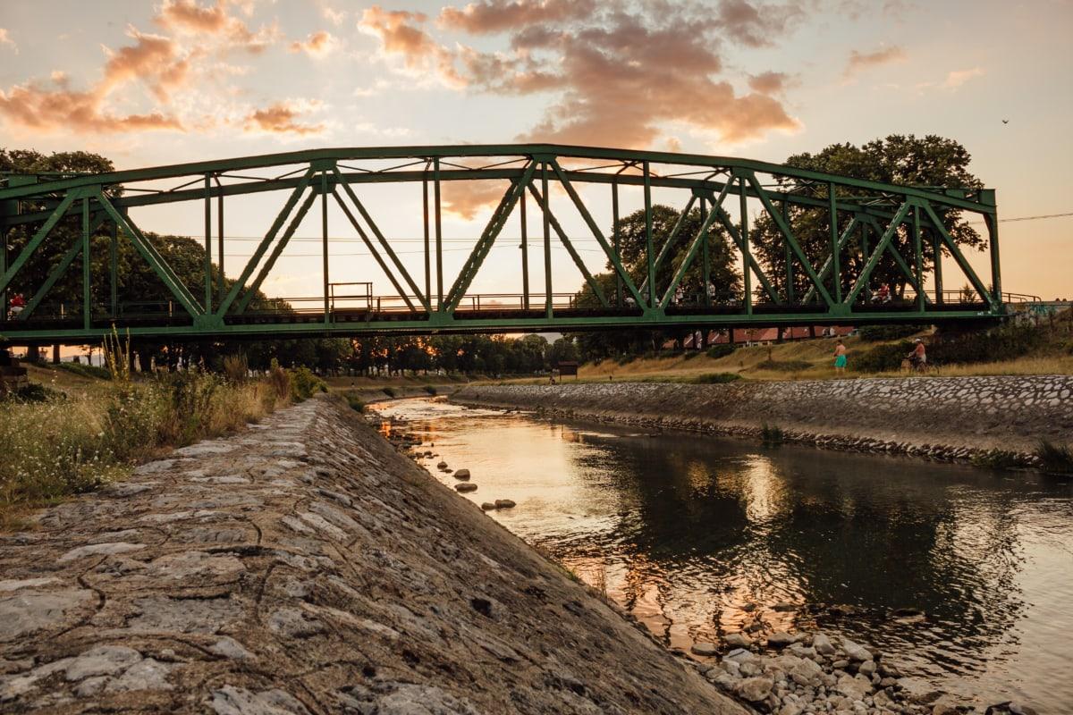 construction, bridge, cast iron, canal, railway, river, water, structure, iron, sunset