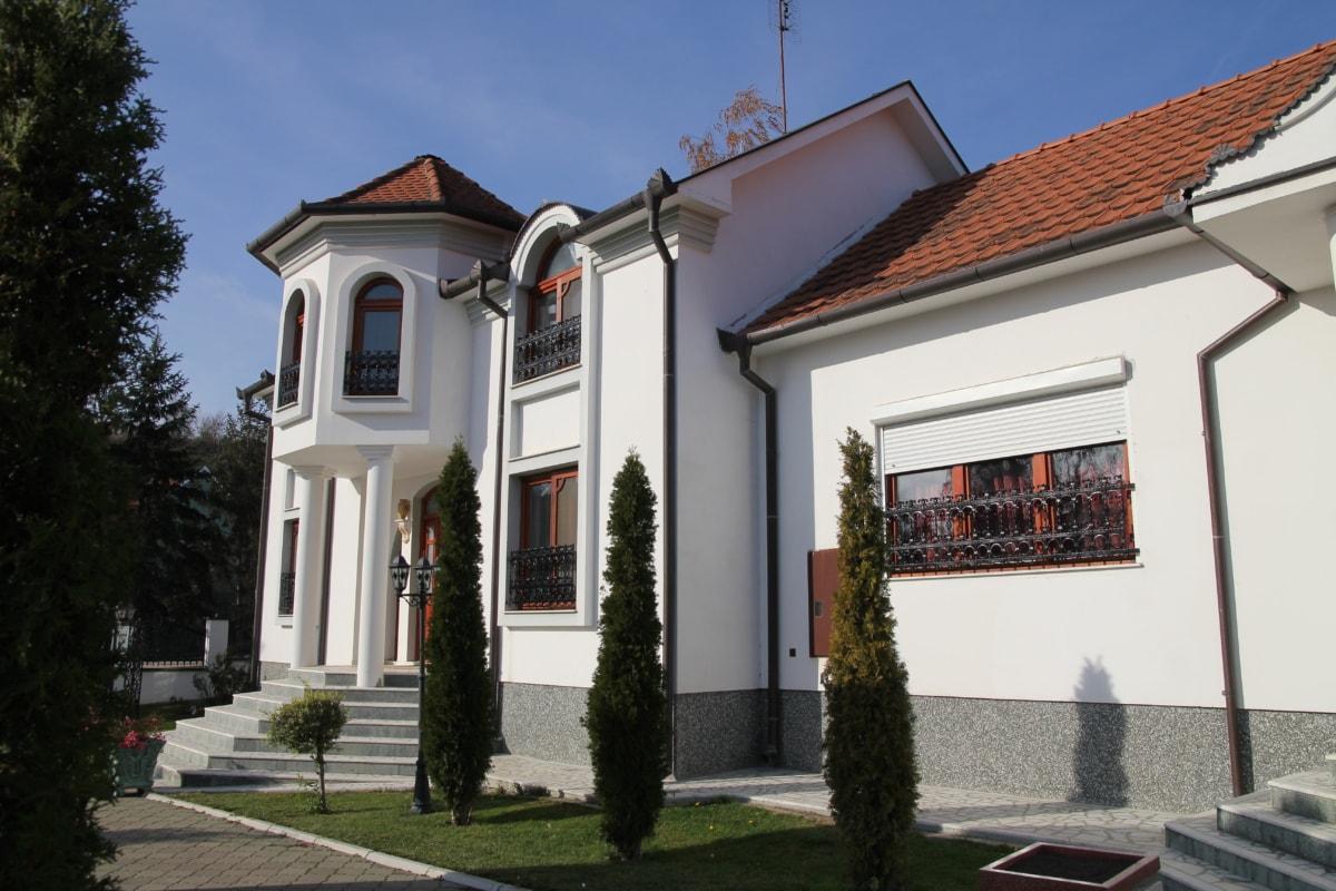 Villa, egendom, urban, lyx, boende, bakgård, kakel, bostad, hus, bungalow