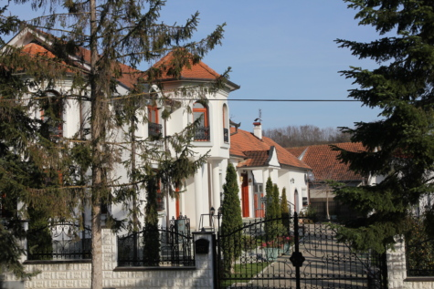 villa, estate, residence, cast iron, backyard, fence, architecture, monastery, building, house