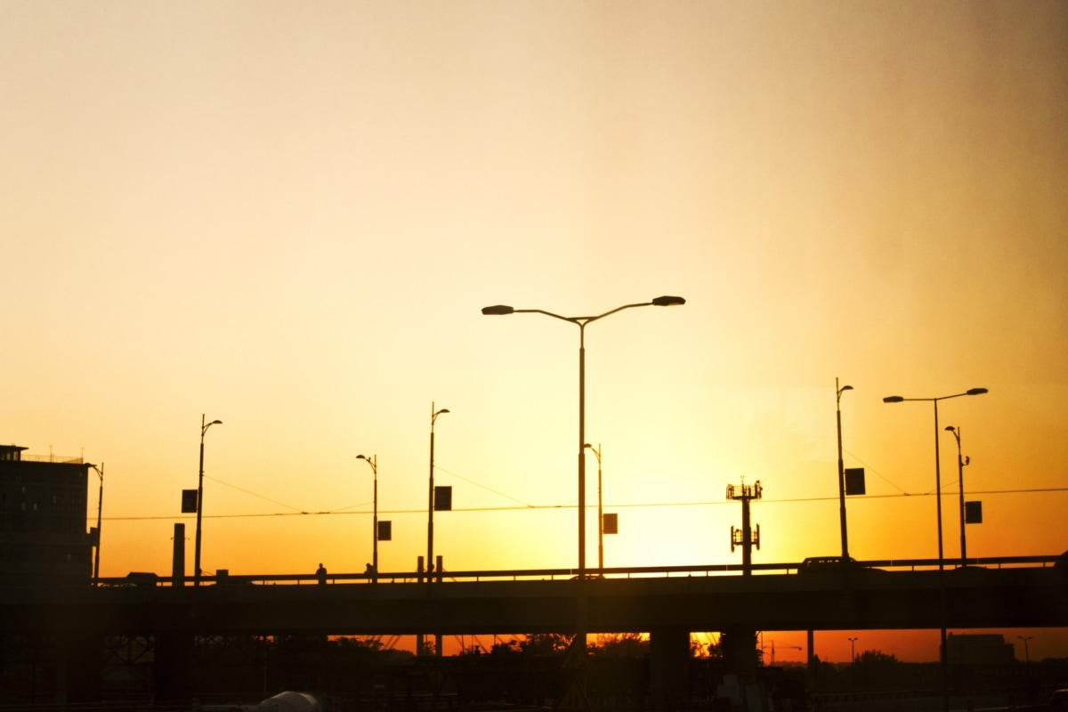 sunset, silhouette, bridge, urban area, traffic jam, suburban, turbine, energy, generator, electricity