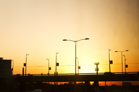 sunset, silhouette, bridge, urban area, traffic jam, suburban, turbine, energy, generator, electricity