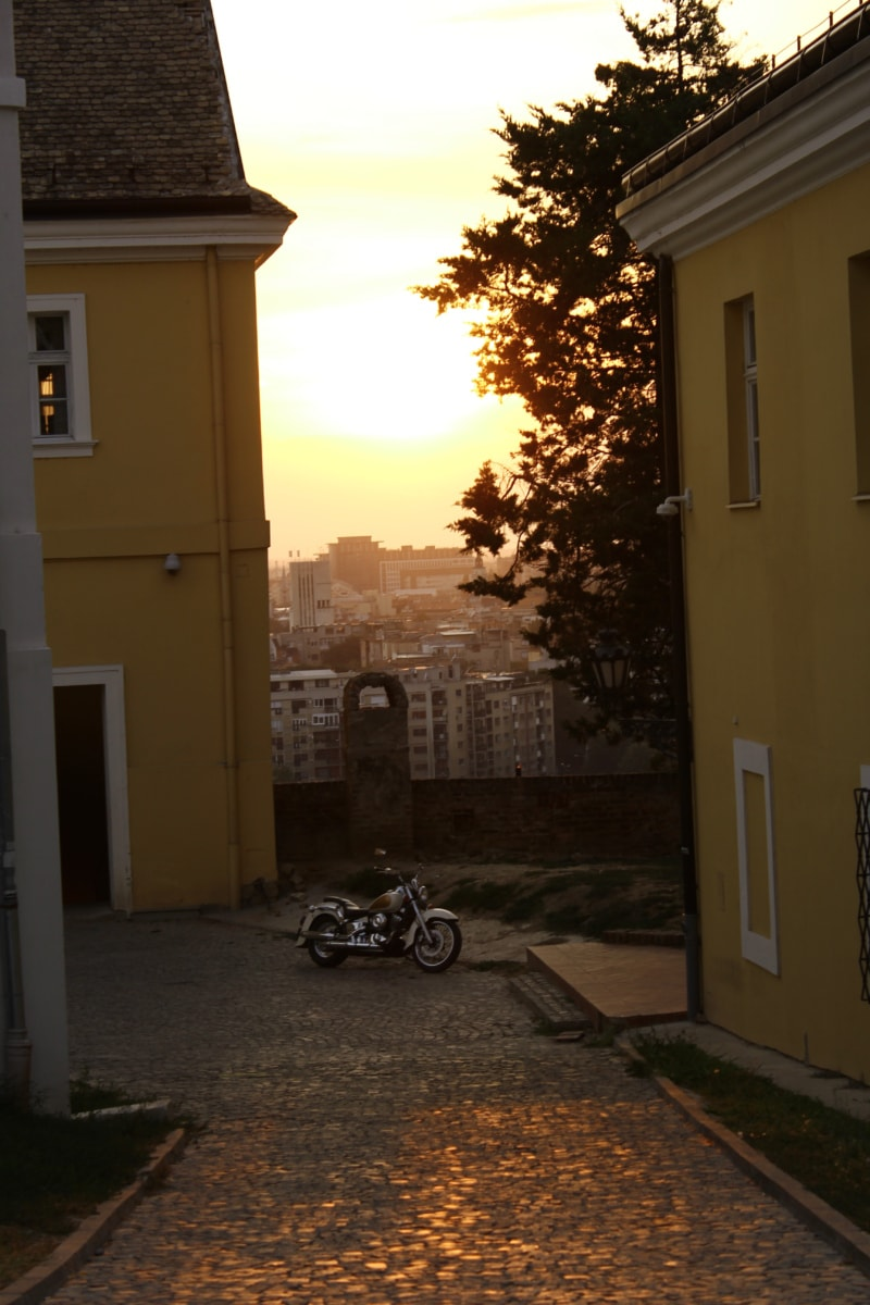 cityscape, street, motorcycle, sunset, downhill, panorama, structure, house, home, patio