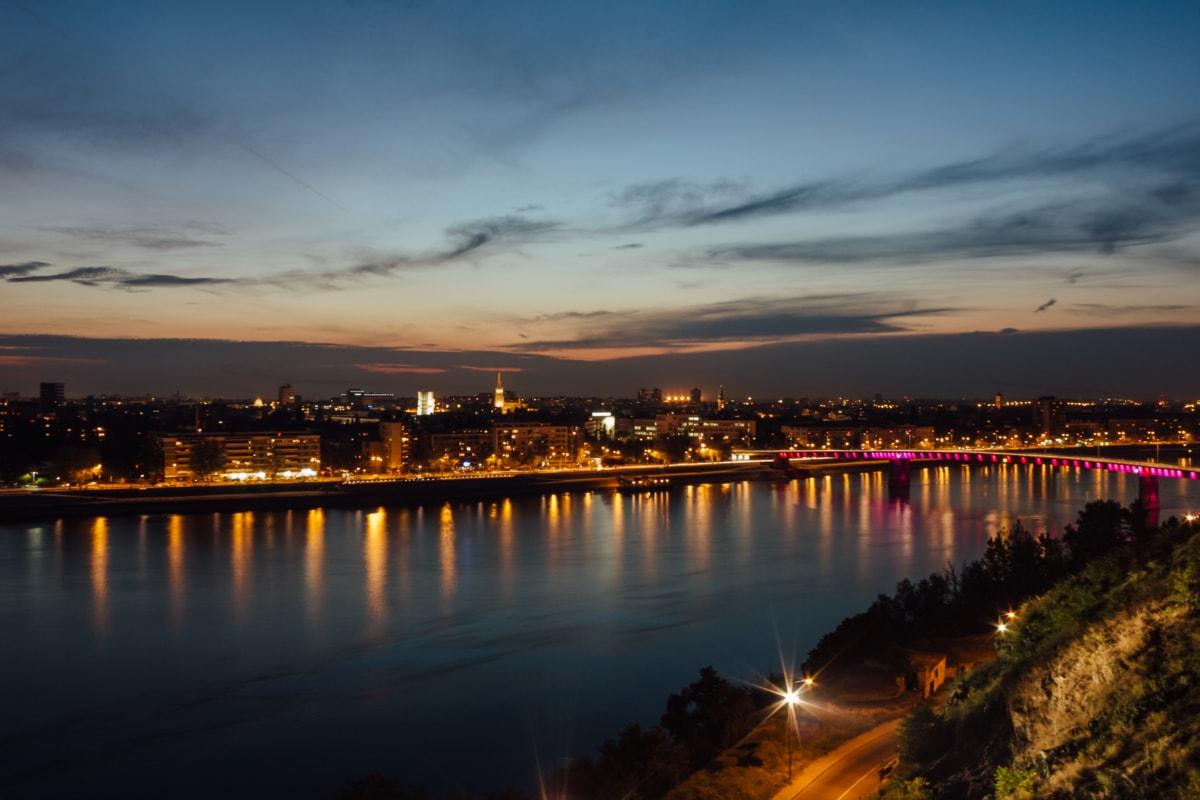 bridge, downtown, night, cityscape, reflection, waterfront, pier, water, sunset, city