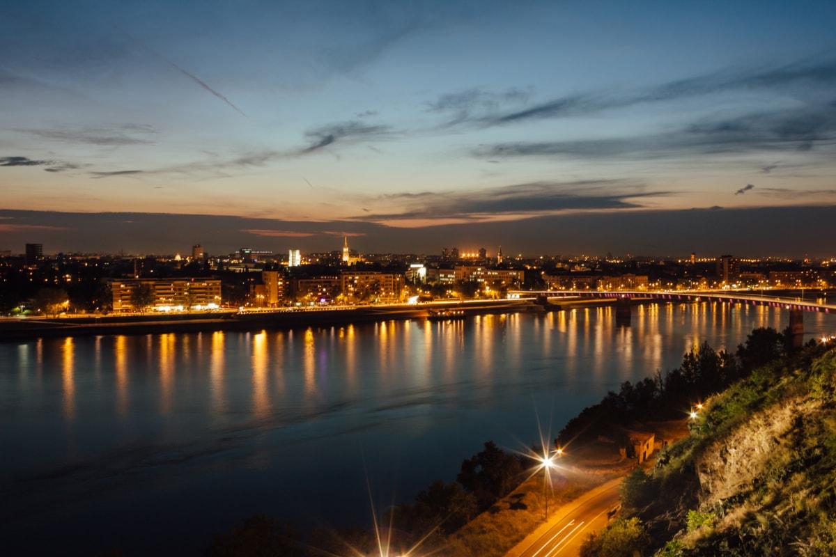 panorama, cityscape, nighttime, riverbank, Europe, pier, sunset, dawn, waterfront, city
