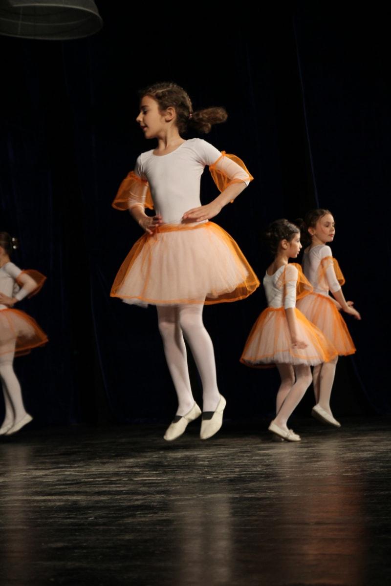 ballet, dance, children, jump, pretty girl, theatre, entertainer, dancer, dress, person