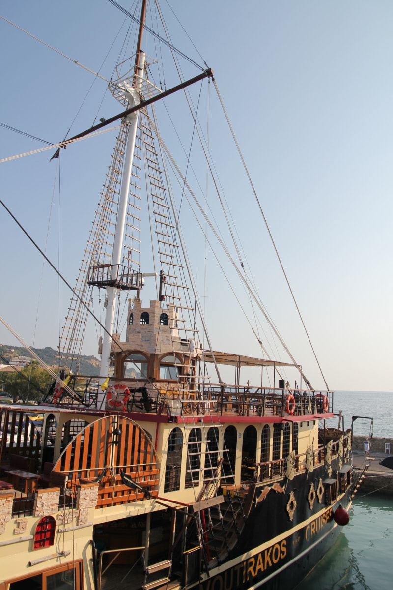 sailboat, sailing, tourist attraction, cafeteria, harbor, water, boat, watercraft, ship, pirate