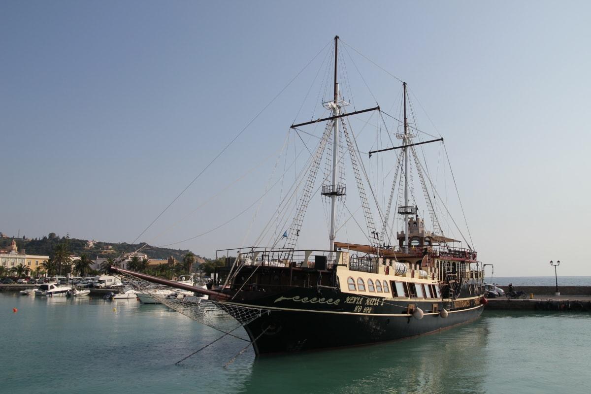 sailboat, harbor, historic, tourist attraction, sailing, boat, water, pirate, sail, ship