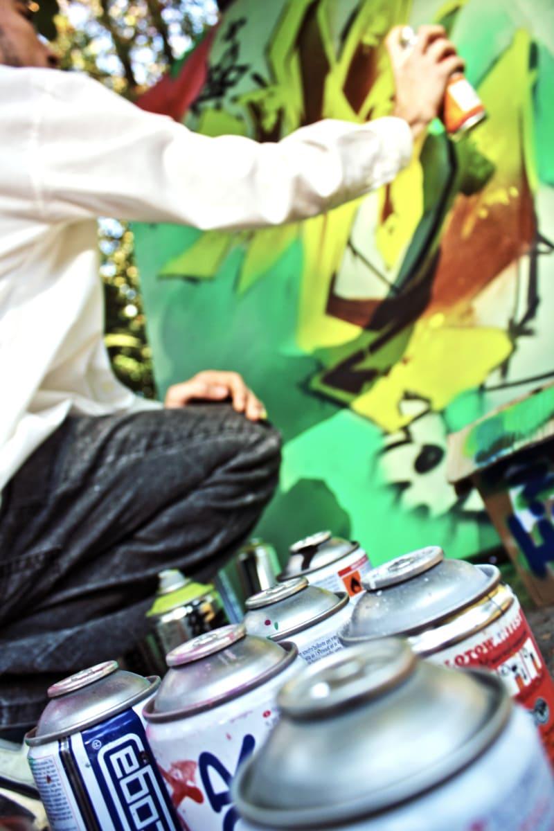 graffiti, painter, painting, paintbrush, man, outdoors, street, people, festival, indoors
