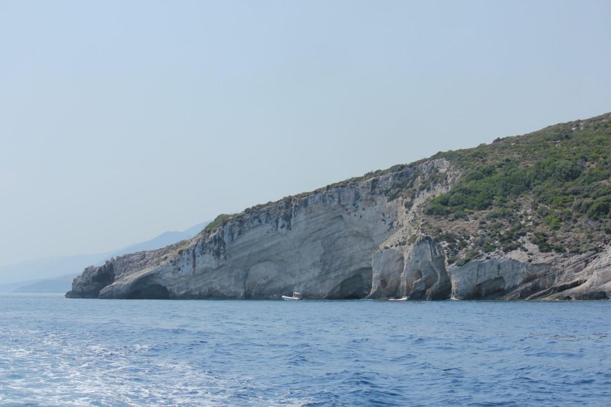 ocean, cliff, foggy, seashore, landscape, coast, beach, water, sea, rock
