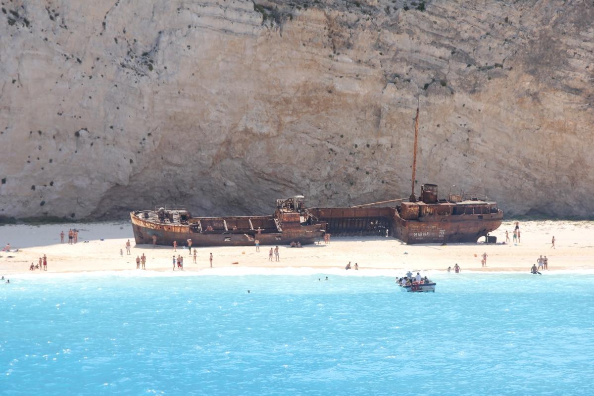 Корабельна аварія, притягнення туриста, покинуті, іржі, люди, пляж, крах, рукоділля, води, корабель