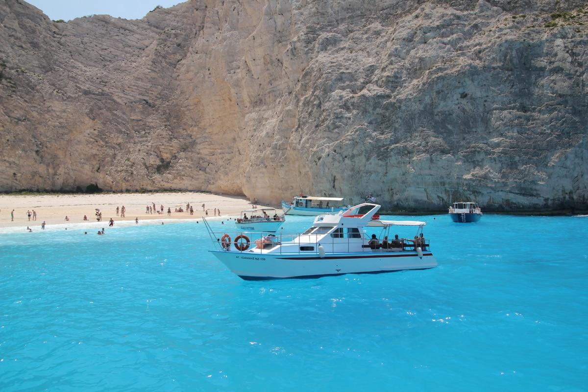 boat, boats, cliff, coastline, relaxation, resort area, ship, summer season, tourism, tourist