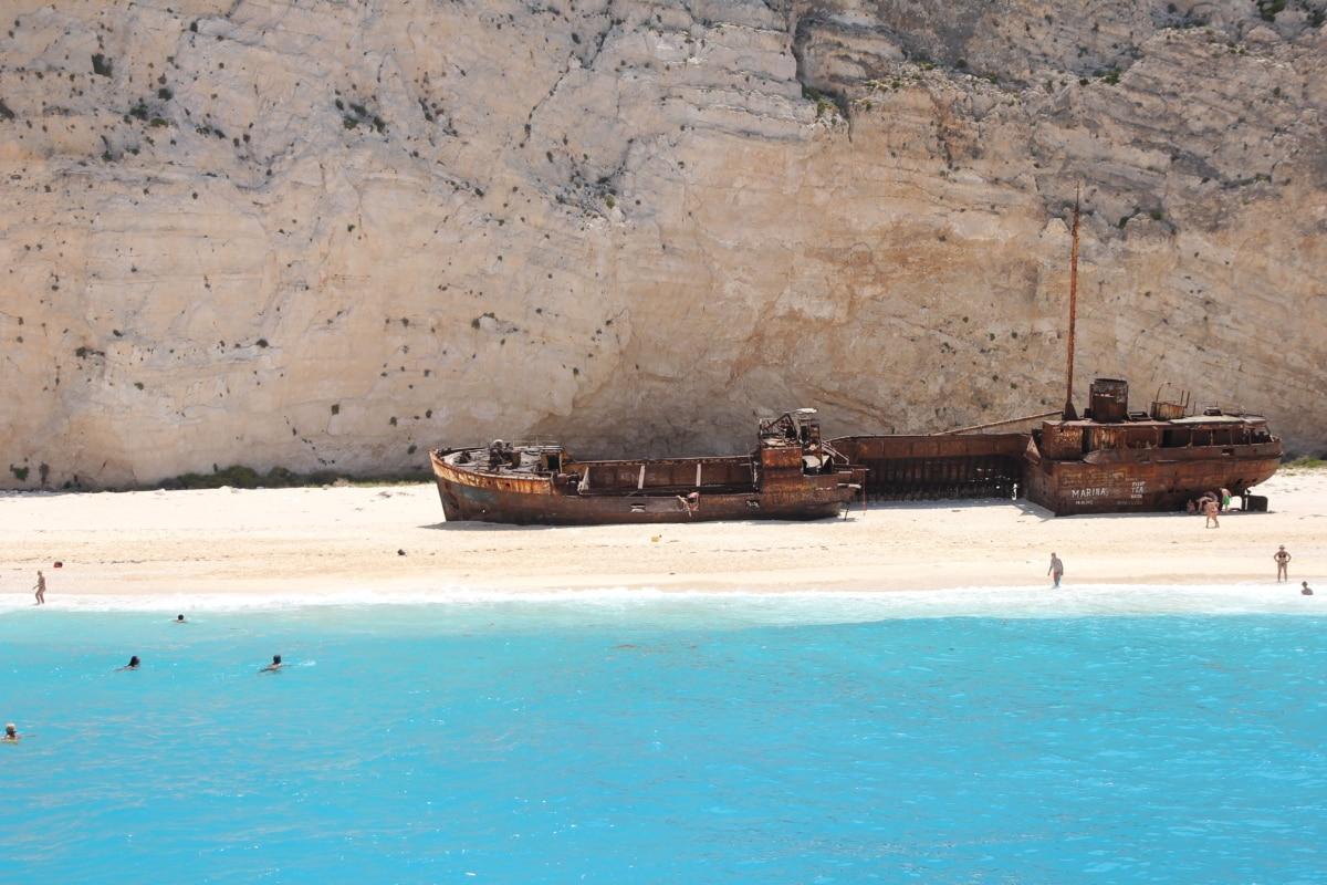 ship, shipwreck, old, island, abandoned, ocean, water, sea, craft, wreck