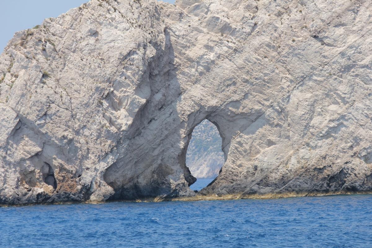 formation, hole, cliff, coastline, water, mountain, landscape, ocean, coast, sea