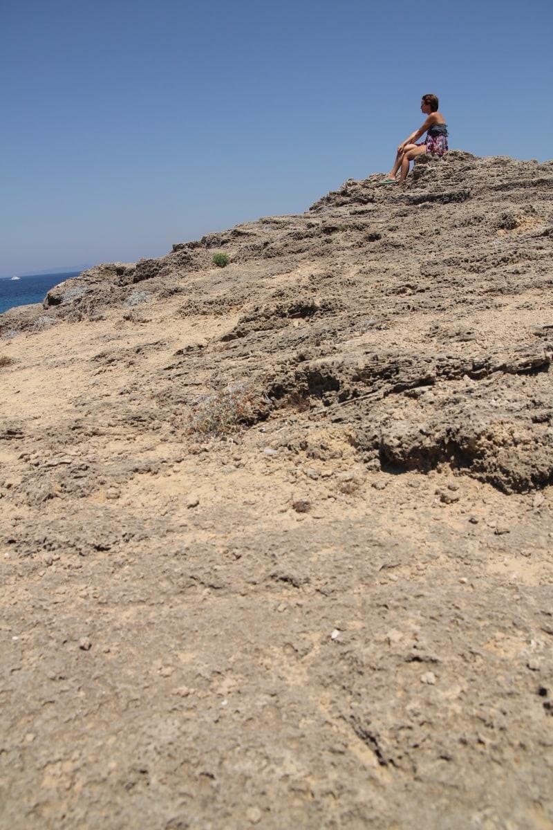 think, pretty girl, cliff, alone, mountain, knoll, landscape, ascent, desert, beach