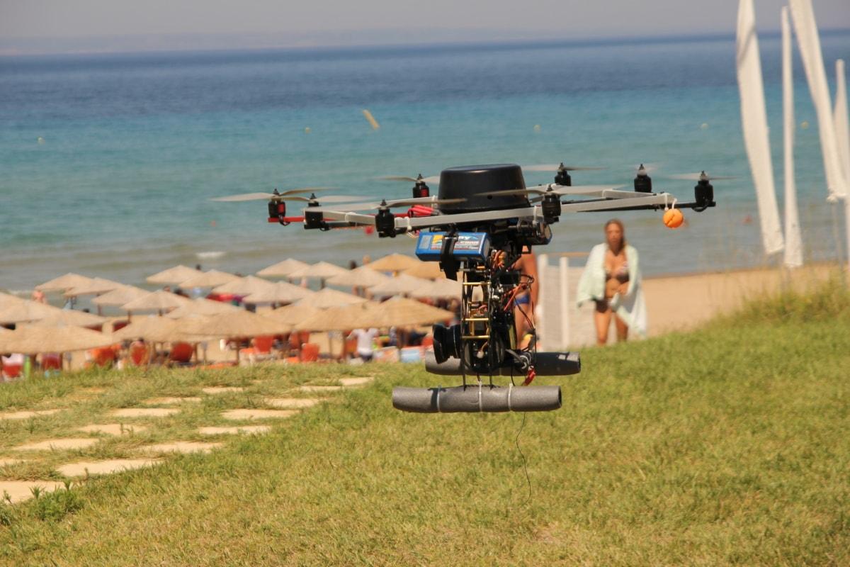 dron, surveillance, beach, water, leisure, recreation, summer, sand, people, action