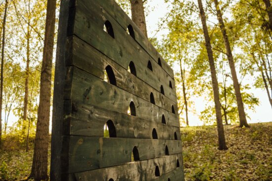 playground, carpentry, forest, handmade, wall, old, structure, forest path, hole, object