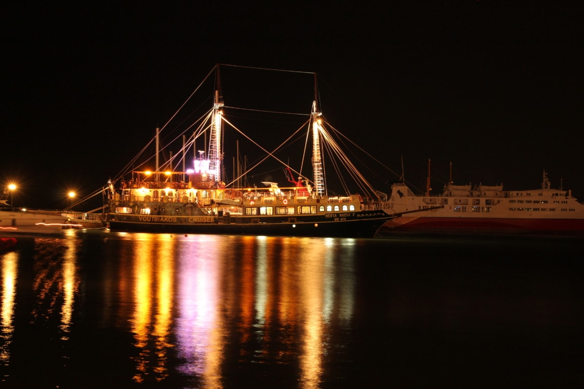 gece, Yelkenli, aydınlatma, liman, gece hayatı, gece kulübü, turistik, gece, Defne, liman bölgesi