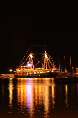 night, cruise ship, sailboat, harbour, lights, city, waterfront, bridge, river, water