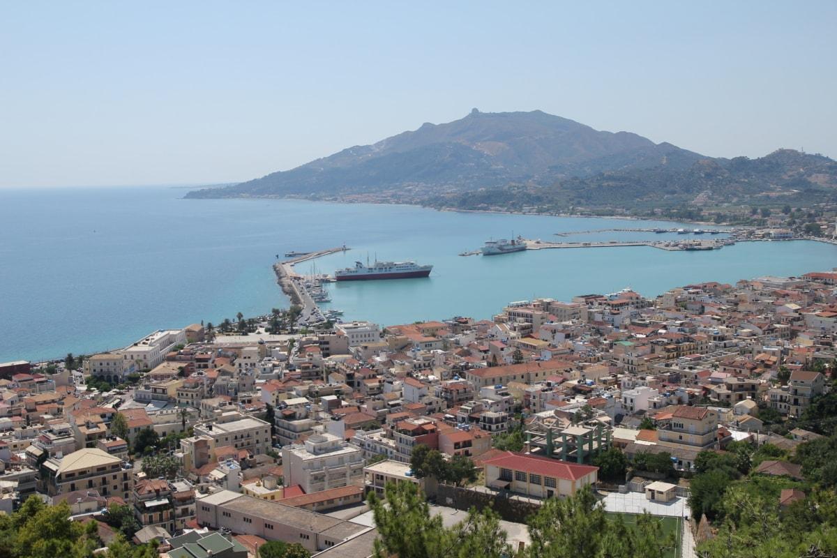 downtown, greece, panorama, urban area, harbour, cape, sea, coast, water, town