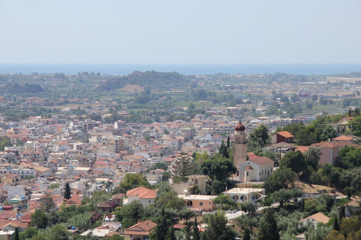 church tower, greece, hillside, cityscape, panorama, town, city, architecture, church, skyline