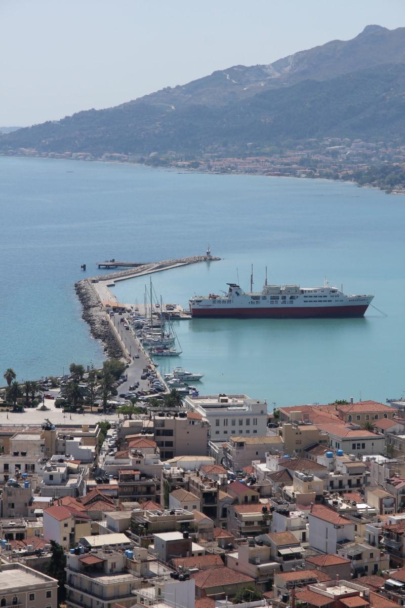 coastline, harbour, cruise ship, city, ocean, panorama, sea, harbor, ship, watercraft