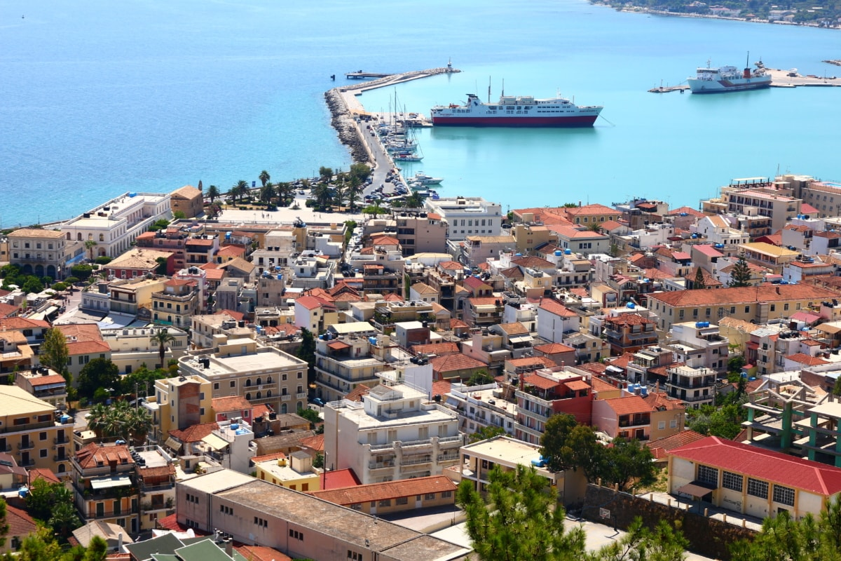 cruise ship, harbour, cityscape, panorama, greece, city, town, ship, architecture, roof