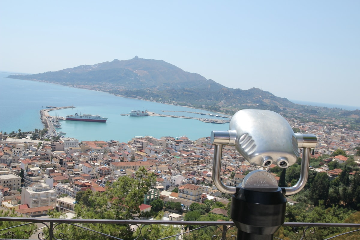 panorama, binoculars, cityscape, water, city, harbor, sea, landscape, architecture, town
