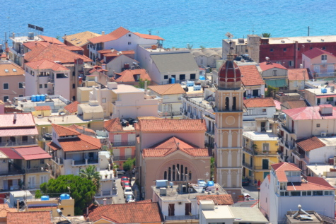 greece, downtown, seascape, church tower, urban area, houses, street, town, roof, building