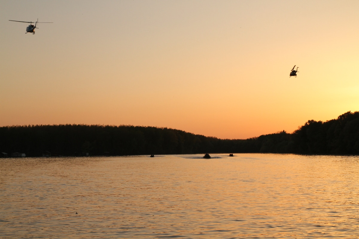 air force, border patrol, patrol boat, helicopter, sunset, landscape, silhouette, action, lake, dawn