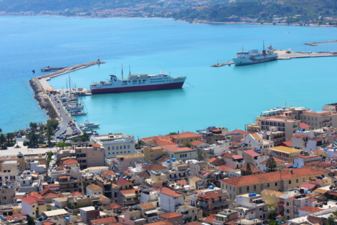 greece, cityscape, coastline, harbour, panorama, cruise ship, houses, ship, town, shipping