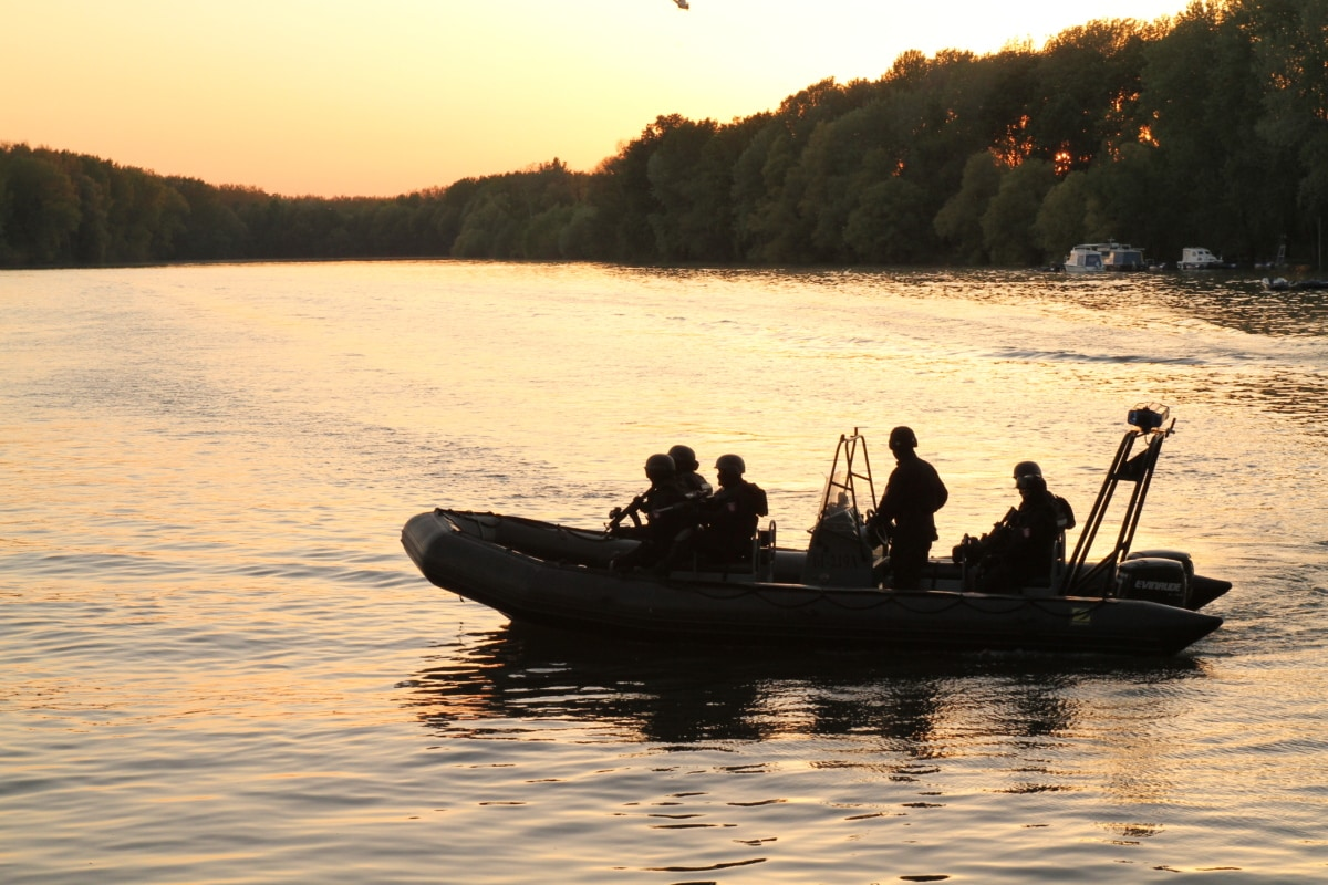 regent, regiment, patrol boat, military, regimen, border patrol, police, army, lake, sunset