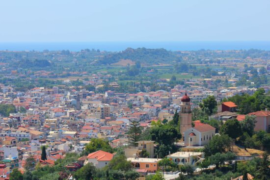 greece, cityscape, hillside, town, architecture, city, church, house, roof, skyline