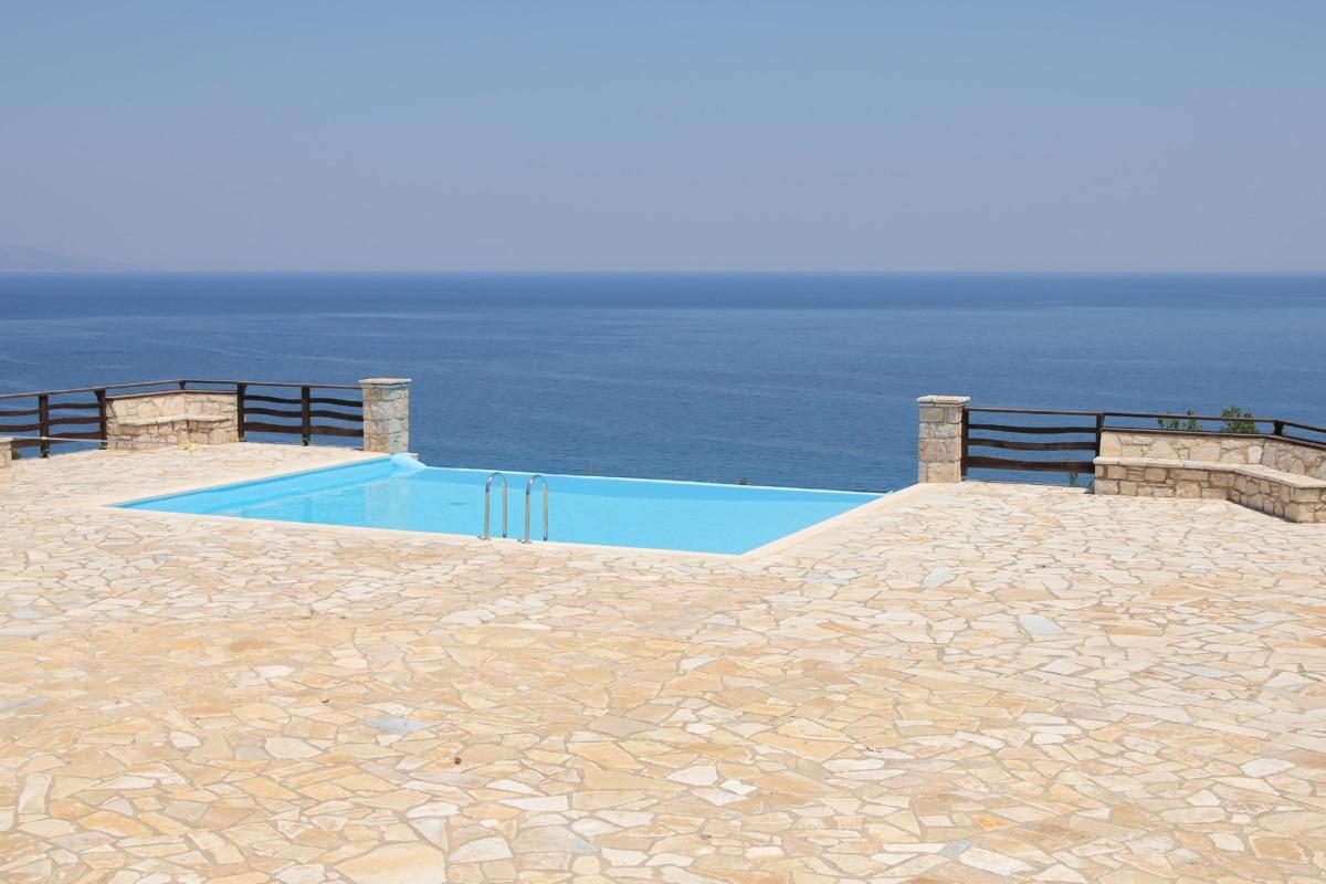 swimming pool, panorama, horizon, ocean, water, sea, sand, sun, summer, vacation