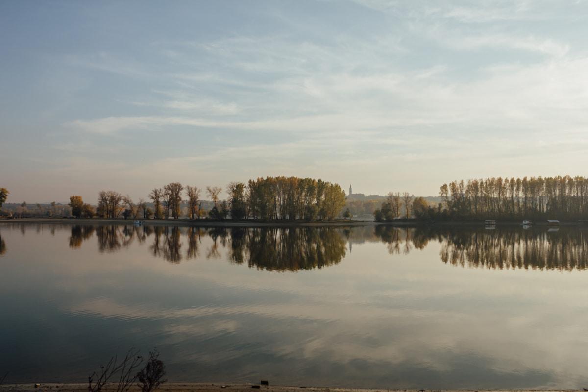 atmosphere, lakeside, national park, Danube, reflection, water, sunset, lake, landscape, tree