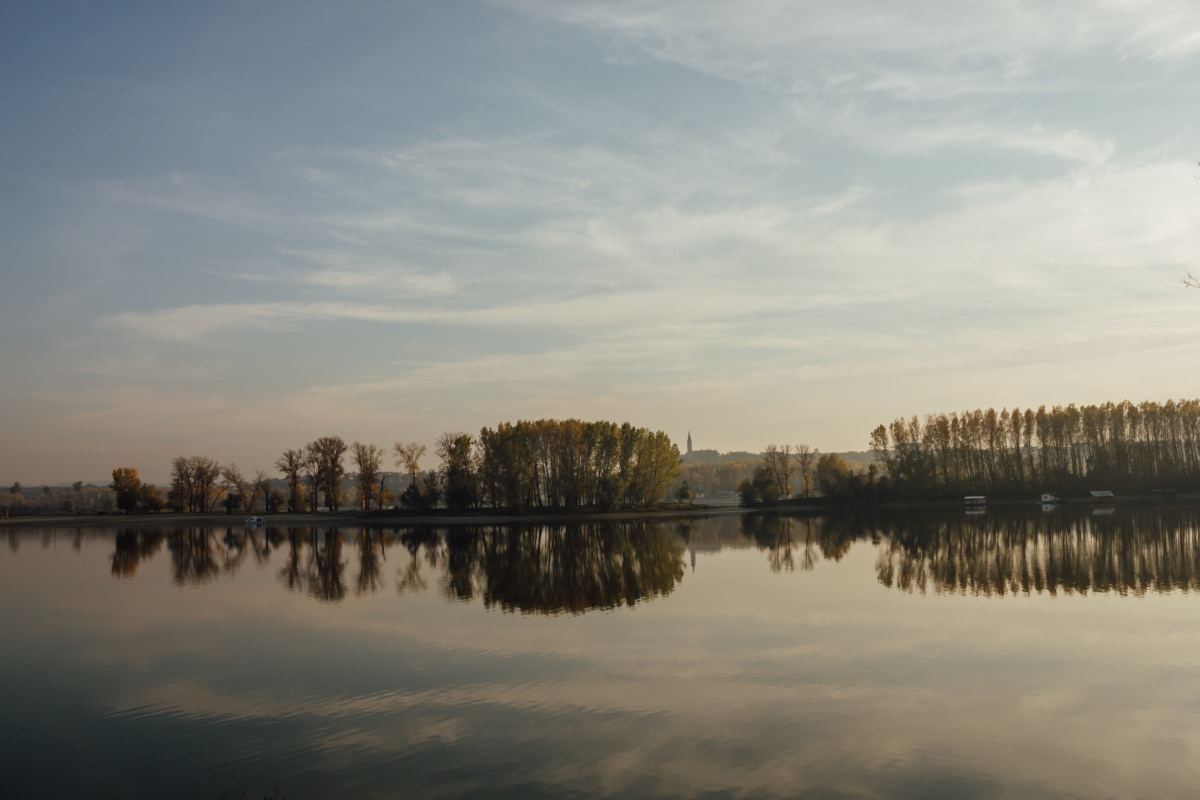 lake, reflection, blue sky, Danube, coastline, autumn season, dawn, atmosphere, forest, water