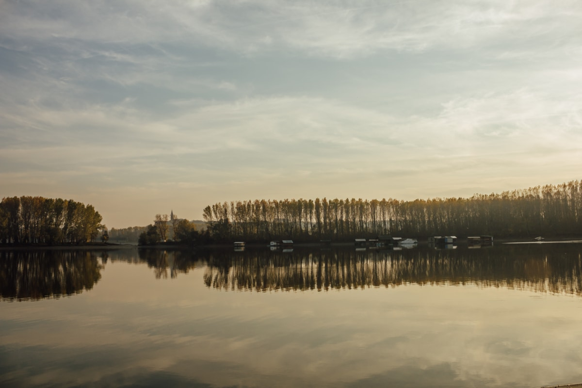 lakeside, beach house, reflection, resort area, forest, water, landscape, lake, dawn, sunset