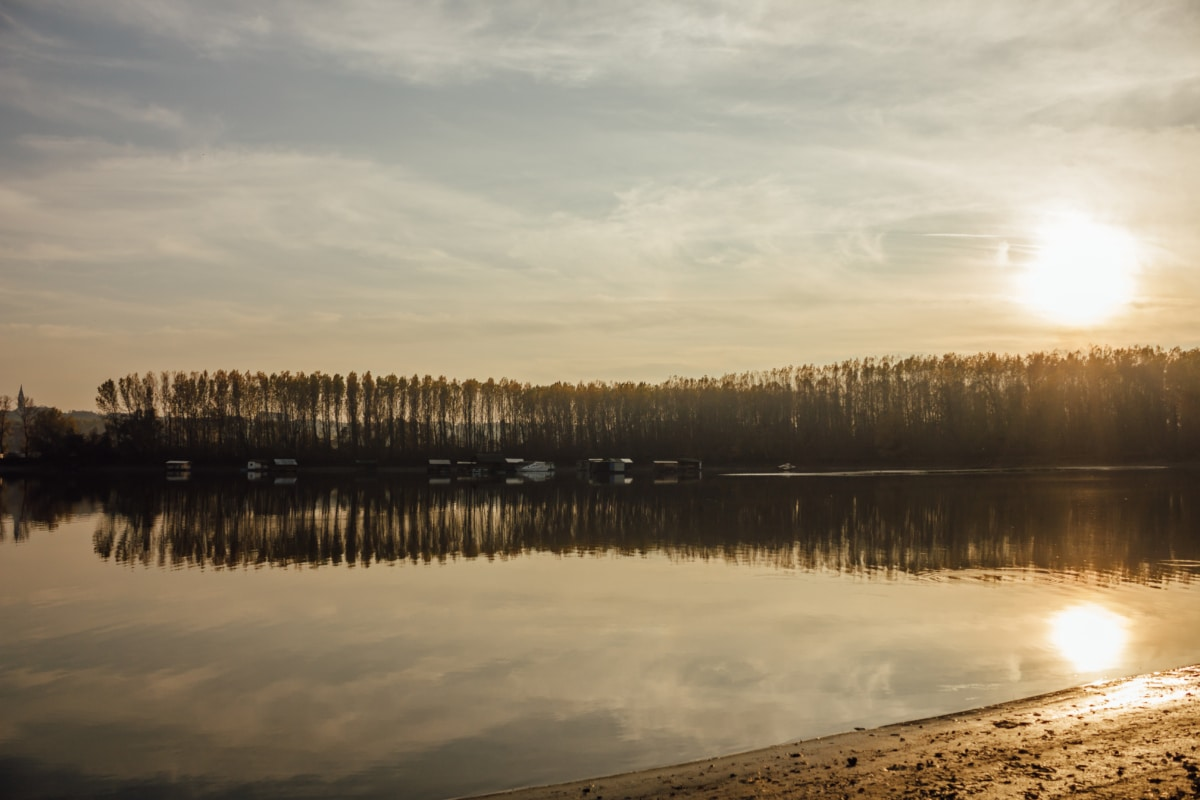 sunshine, lake, calm, sunspot, atmosphere, water system, landscape, forest, snow, water