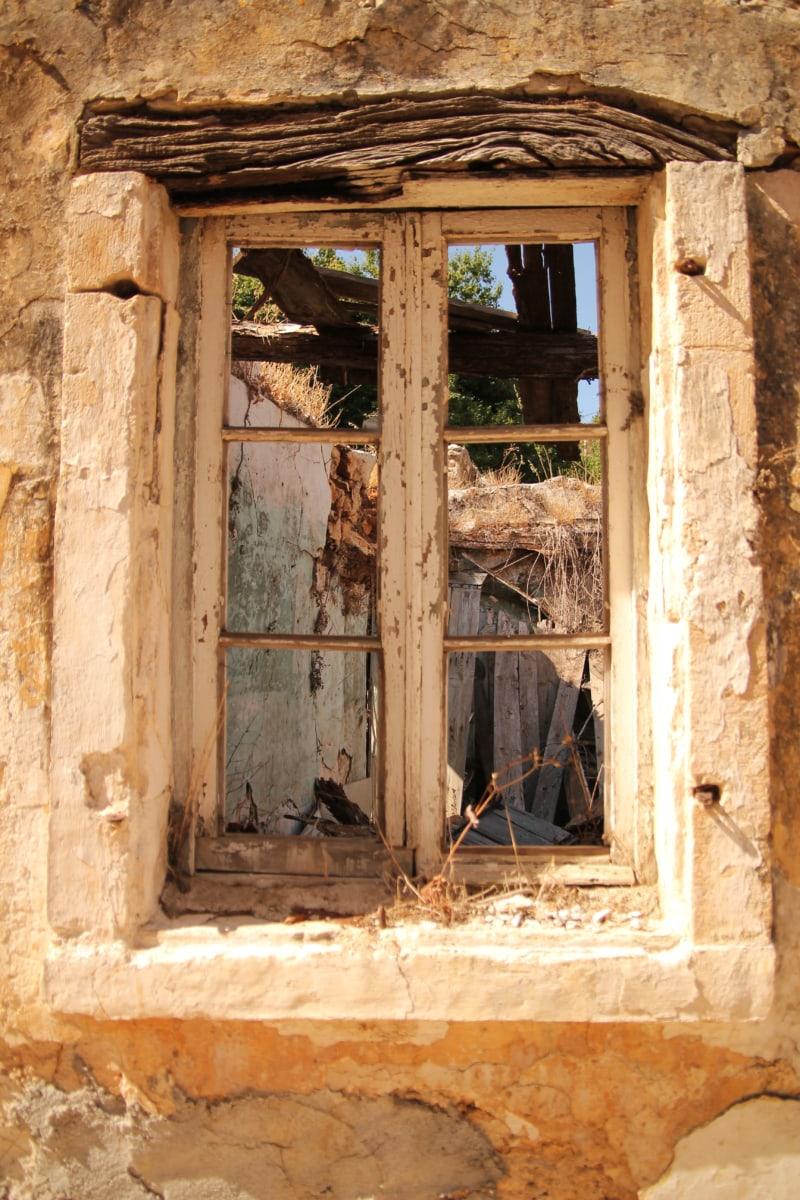 venster, verlaten, ruïne, verval, armoede, het platform, oude, gebouw, muur, huis